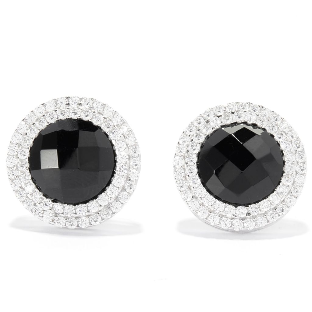 142-279 - Brilliante® Platinum Embraced™ Simulated Onyx & Simulated Diamond Stud Earrings