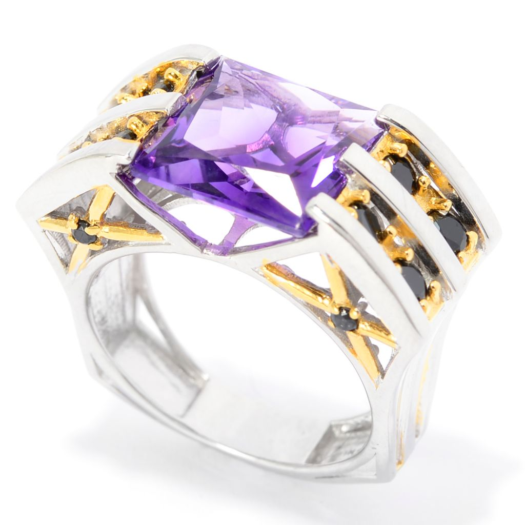 142-302 - Mens en Vogue 8.62ctw Tanzanian Color Shift Amethyst & Black Spinel Ring