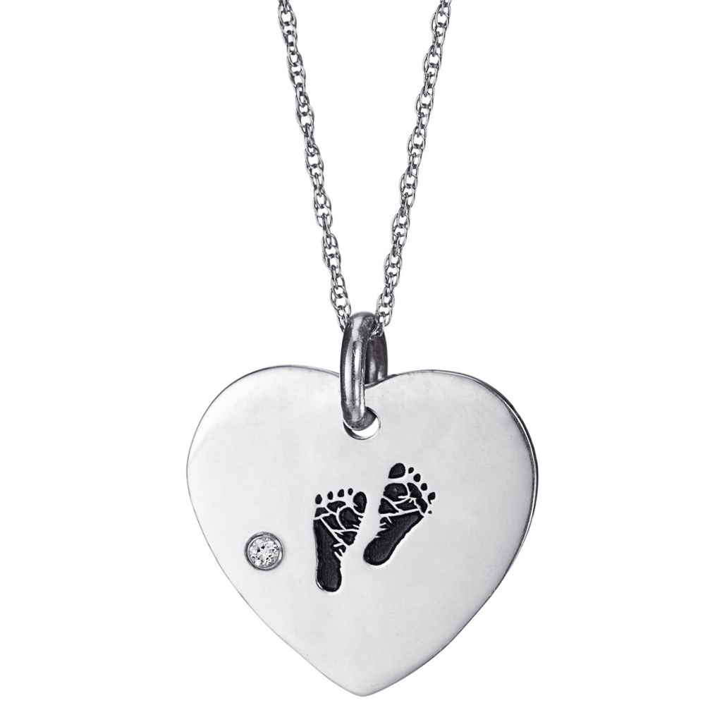 "142-308 - Sterling Silver Baby Footprint & Simulated Birthstone Pendant w/ 20"" Chain"