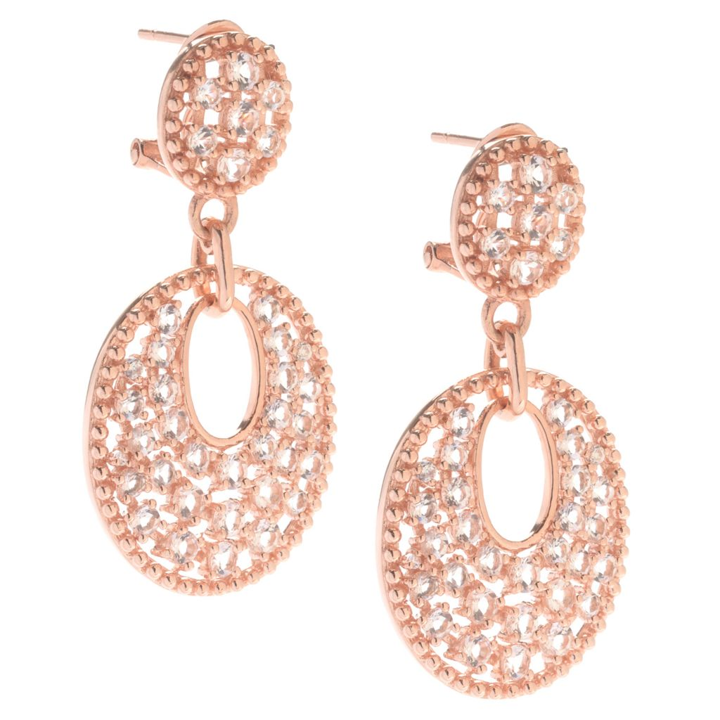 "142-309 - NYC II 1.5"" 2.78ctw Round Morganite & White Zircon Drop Earrings"