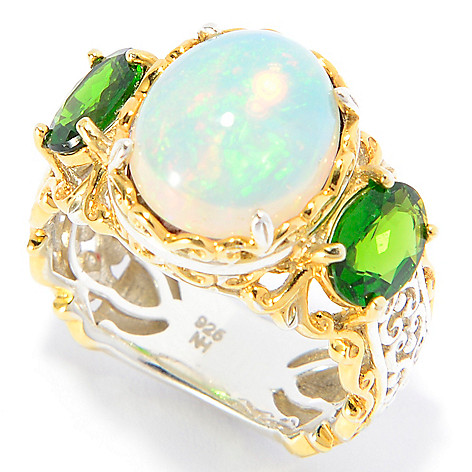 142-312 - Gems en Vogue 12 x 10mm Oval Ethiopian Opal & Gemstone Scrollwork Ring