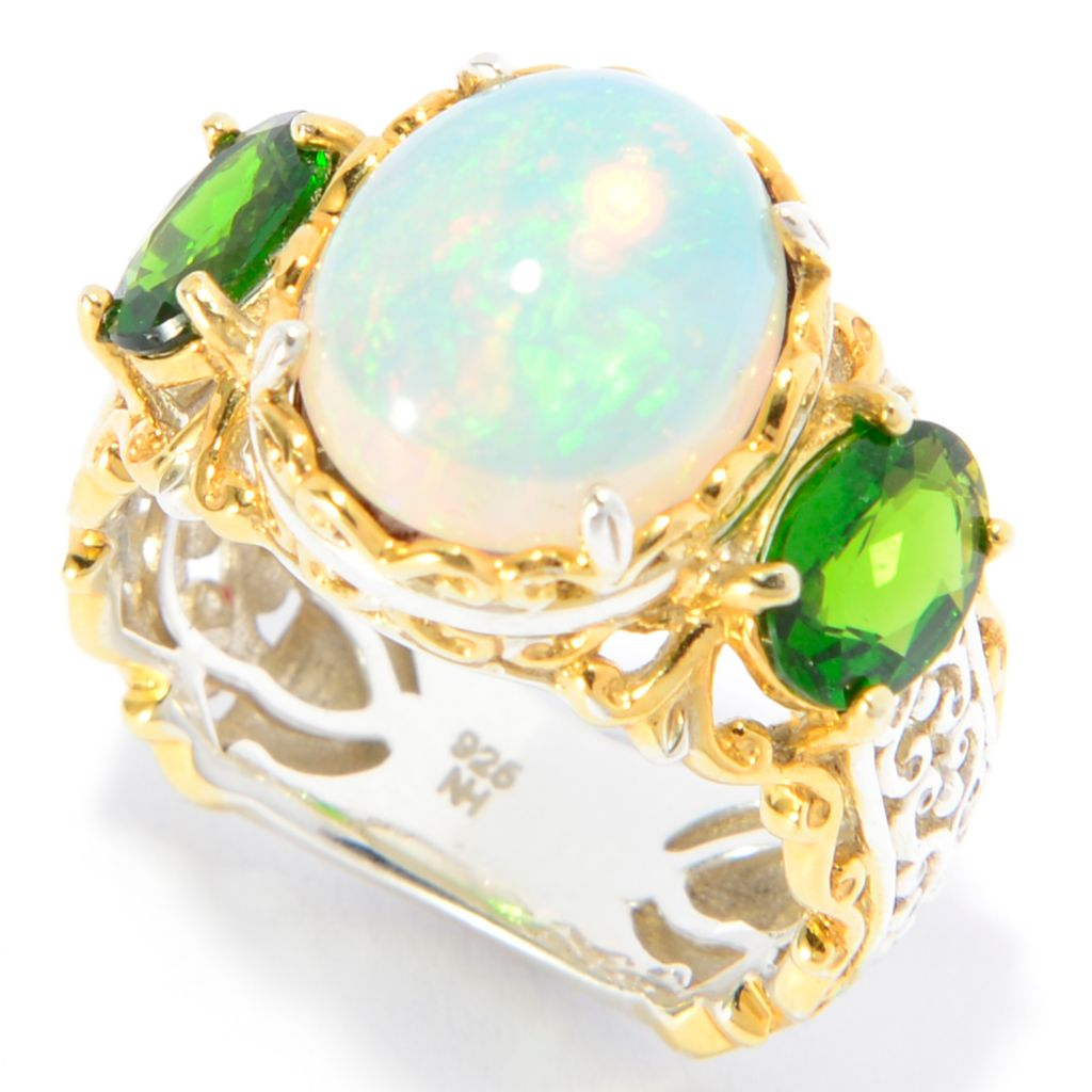 142-312 - Gems en Vogue 12 x 10mm Oval Ethiopian Opal & Chrome Diopside Scrollwork Ring