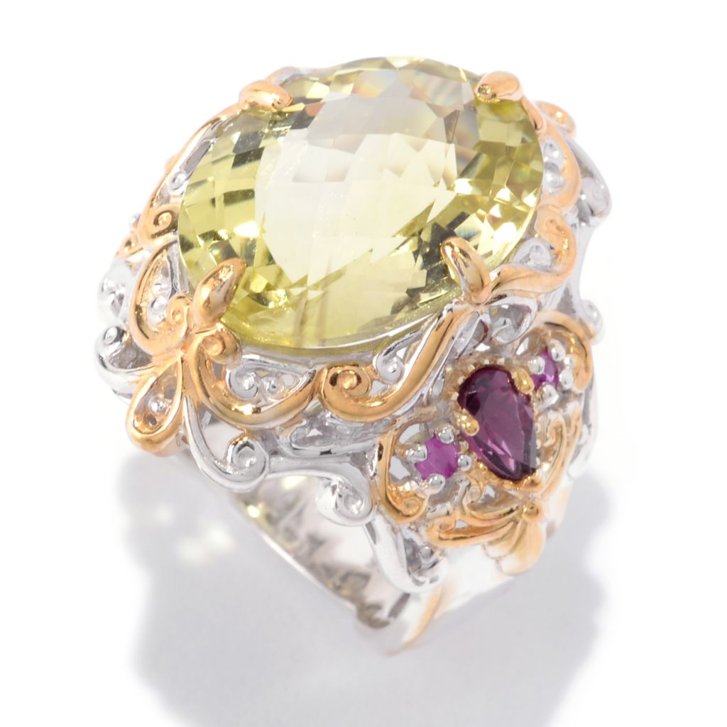 142-313 - Gems en Vogue 8.95ctw Oval Ouro Verde, Pink Sapphire & Rhodolite Ring