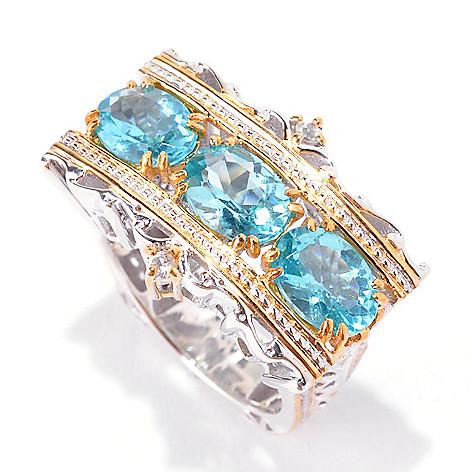 142-314 - Gems en Vogue 3.88ctw Oval Blue Apatite & White Zircon Scrollwork Ring