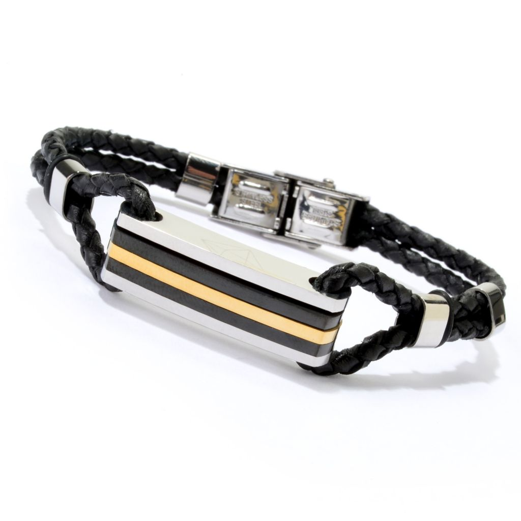 142-350 - TYCOON Men's Tri-color Stainless Steel Braided Leather Bracelet
