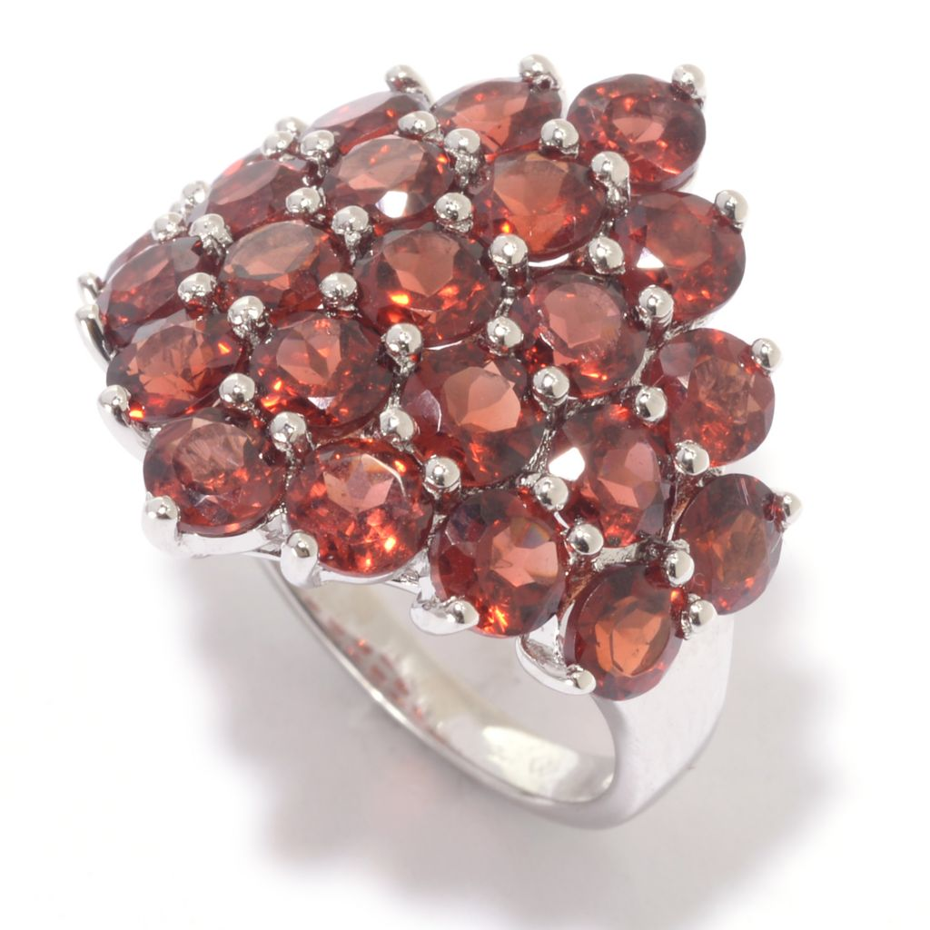 142-383 - Gem Treasures Sterling Silver 5.50ctw Gemstone Graduated Cluster Ring