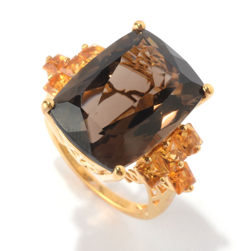 142-385 - NYC II Rectangle Smoky Quartz & Princess Cut Gemstone Ring