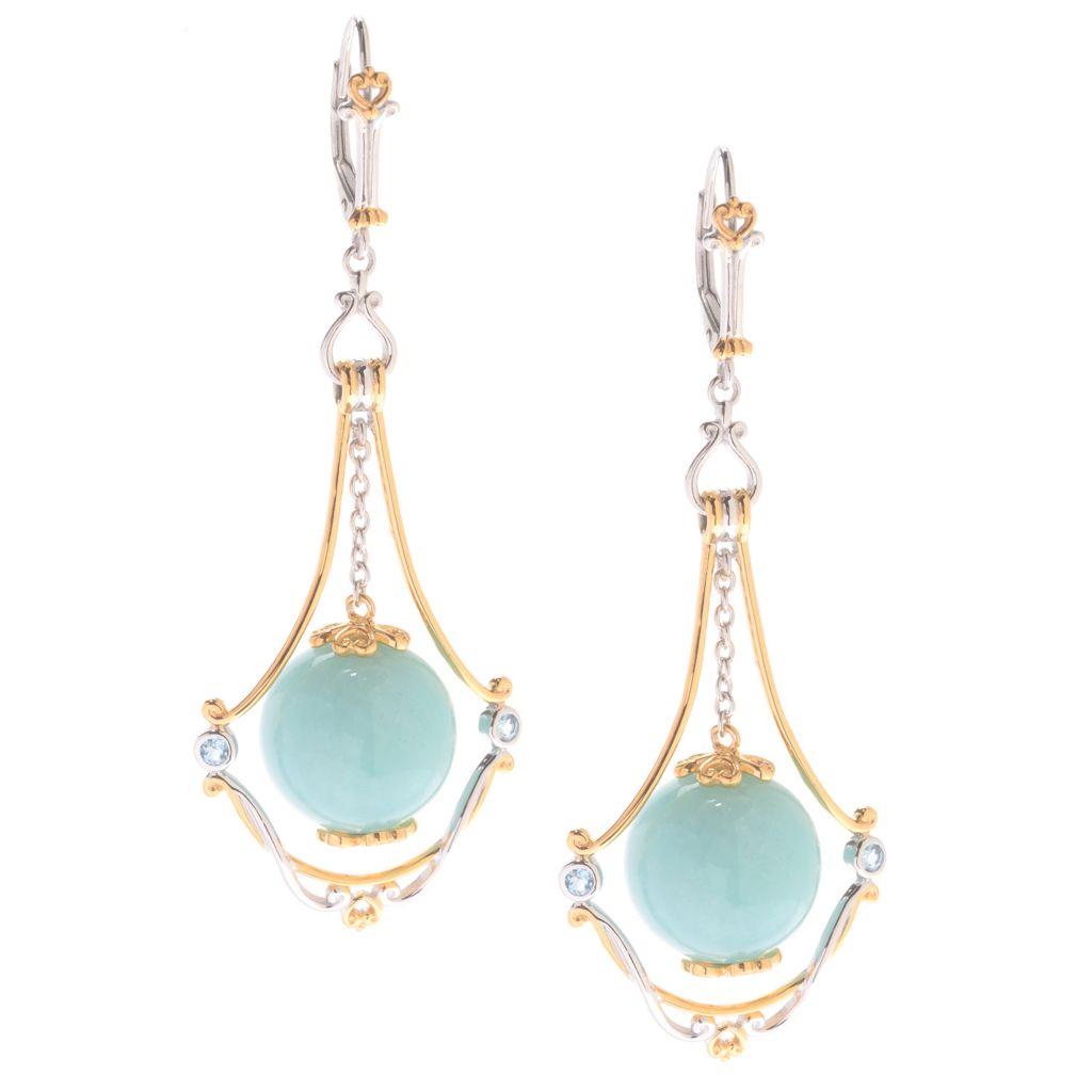 "142-390 - Gems en Vogue 2.50"" 14mm Gemstone Bead Dangle Earrings"