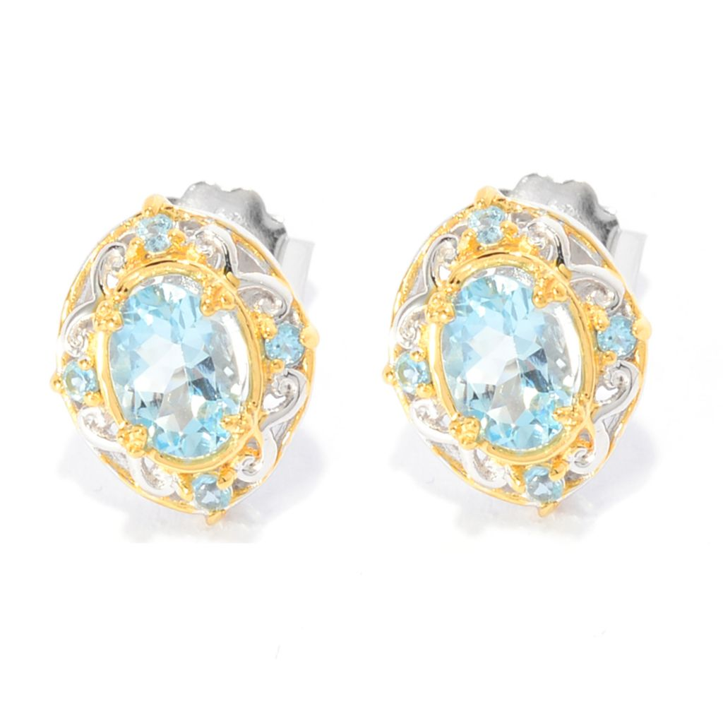 142-391 - Gems en Vogue 1.48ctw Aquamarine & Swiss Blue Topaz Scrollwork Stud Earrings