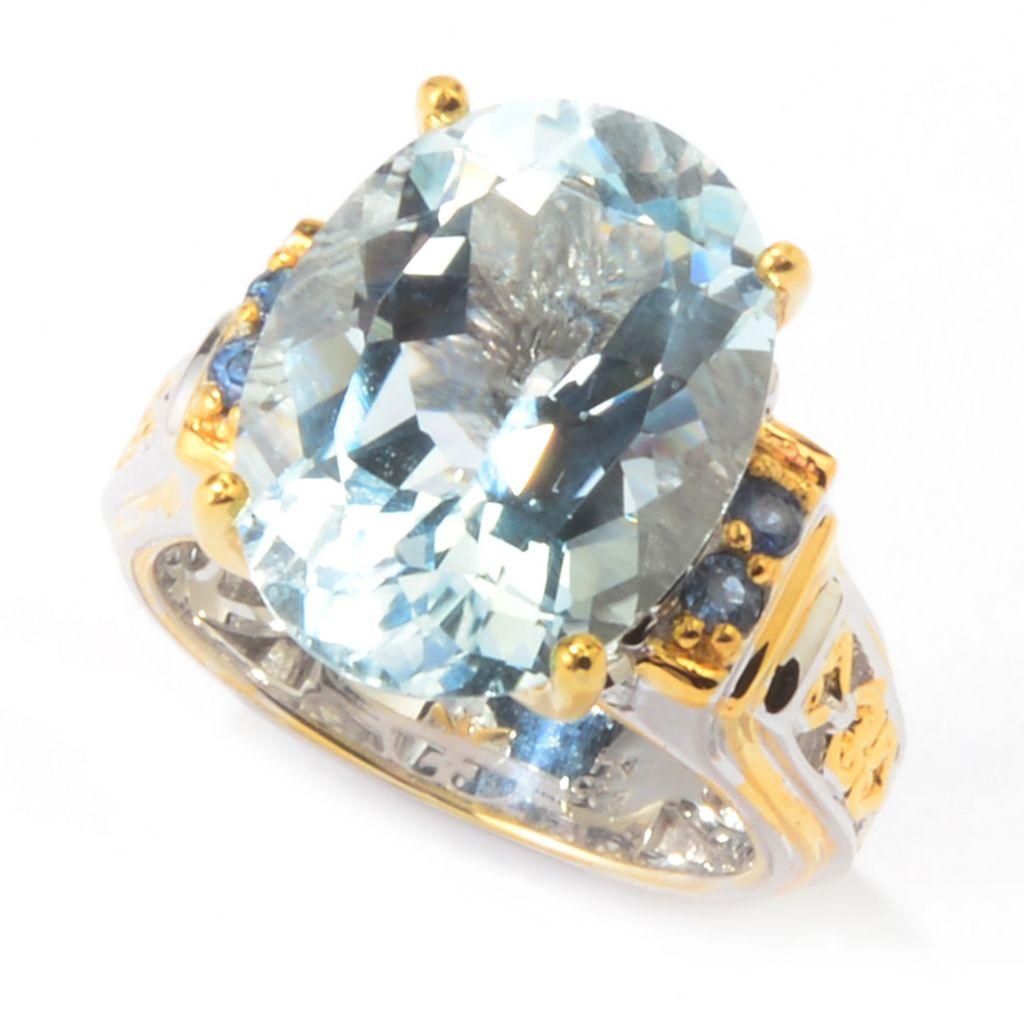 142-392 - Gems en Vogue 8.46ctw Oval Aquamarine & Sapphire Ring