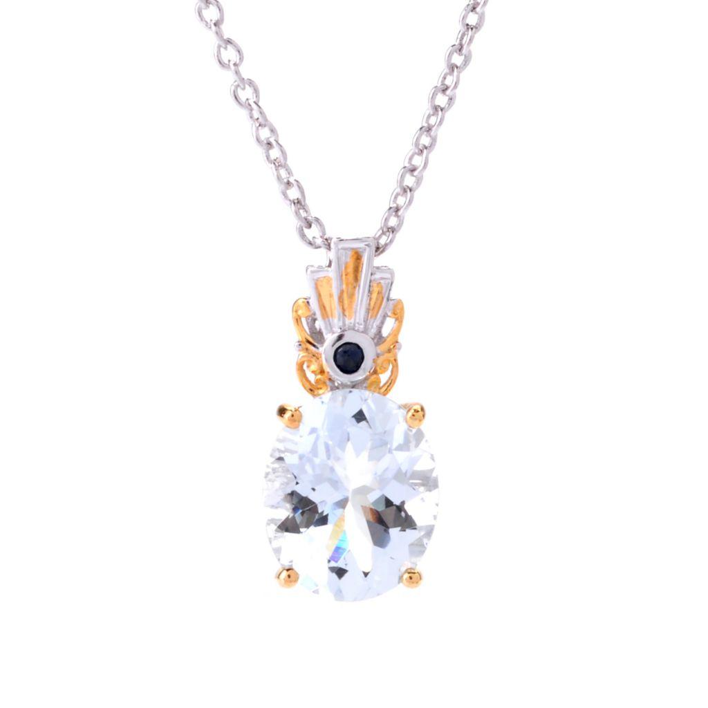 """142-393 - Gems en Vogue 4.00ctw Aquamarine & Sapphire Pendant w/ 18"""" Chain"""