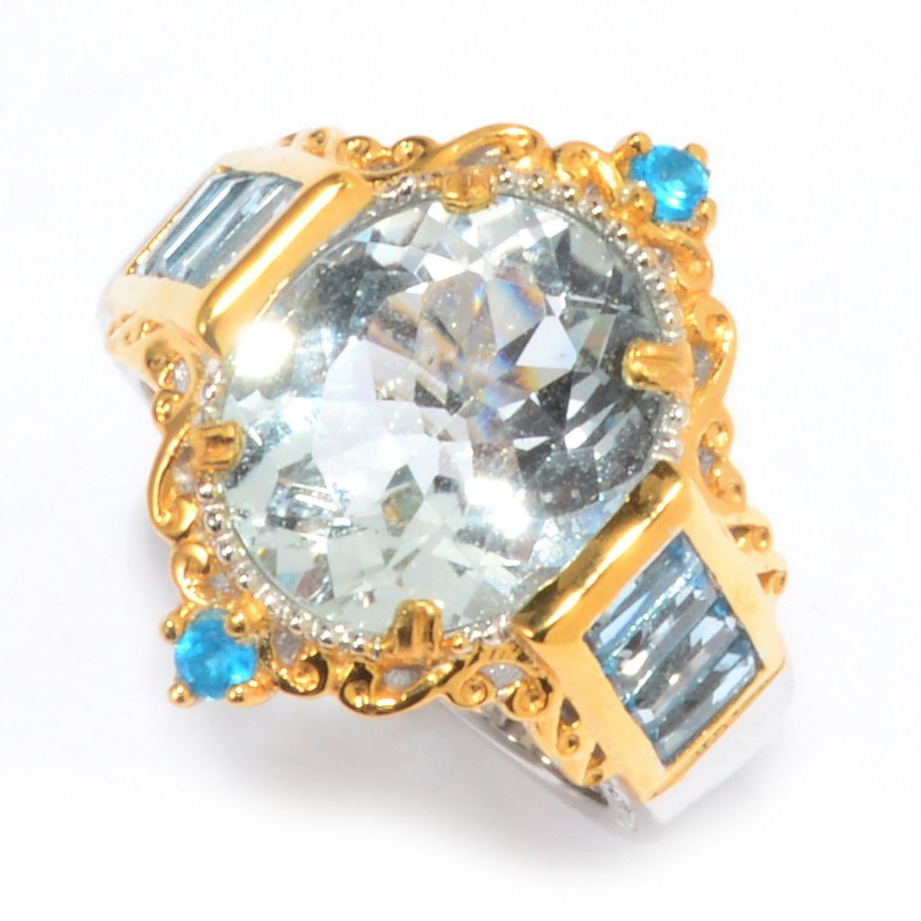 142-394 - Gems en Vogue 5.26ctw Aquamarine, Swiss Blue Topaz & Neon Apatite Ring