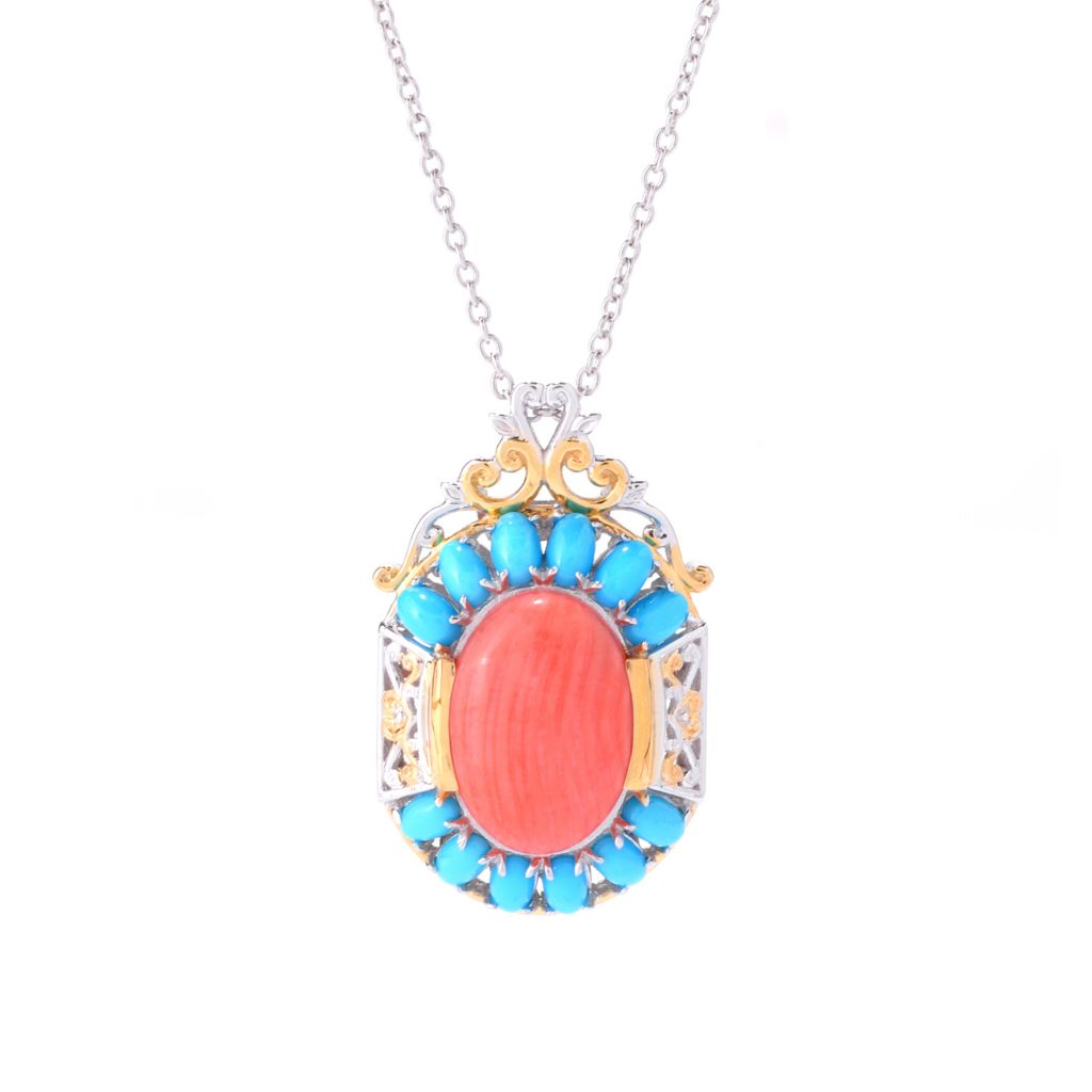142-395 - Gems en Vogue 18 x 13mm Salmon Bamboo Coral & Sleeping Beauty Turquoise Pendant