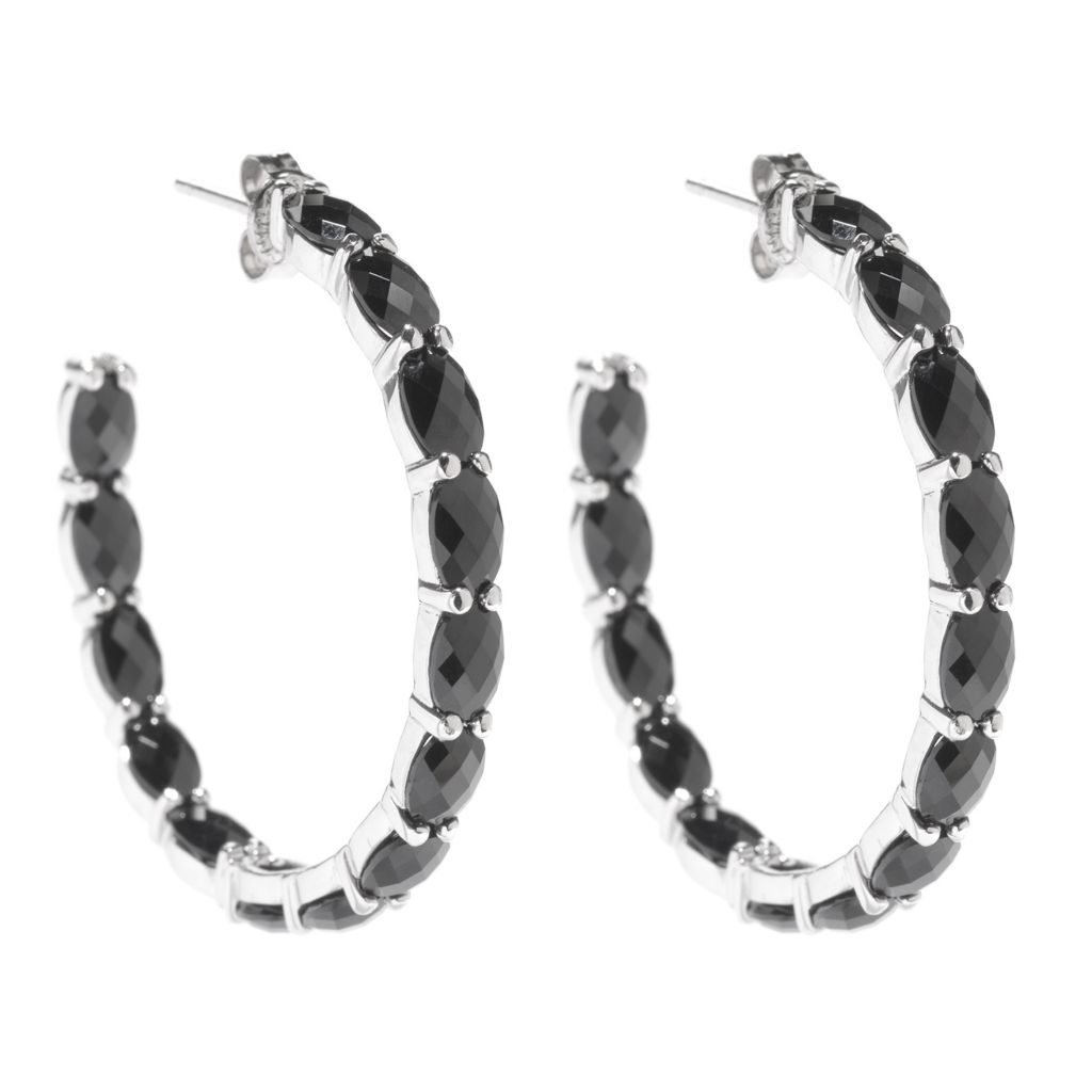 "142-404 - Gem Treasures Sterling Silver 1.5"" 14.00ctw Oval Black Spinel Hoop Earrings"