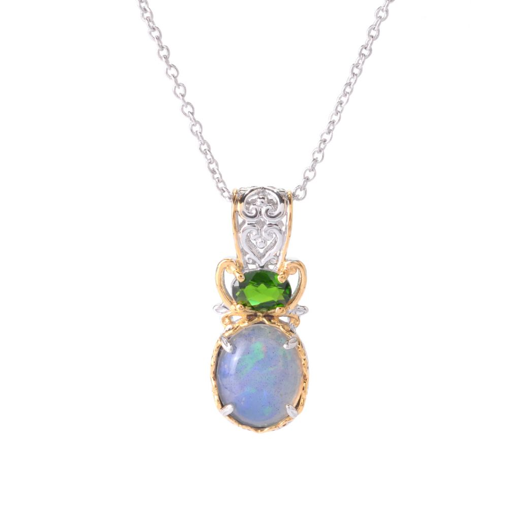 142-407 - Gems en Vogue 12x10mm Oval Ethiopian Opal & Chrome Diopside Pendant w/ Chain