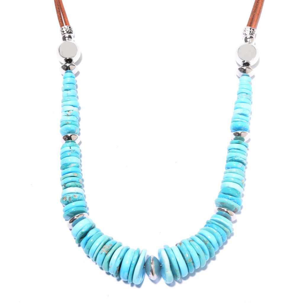 """142-411 - Gem Insider Sterling Silver 20"""" American Turquoise Bead Leather Necklace"""