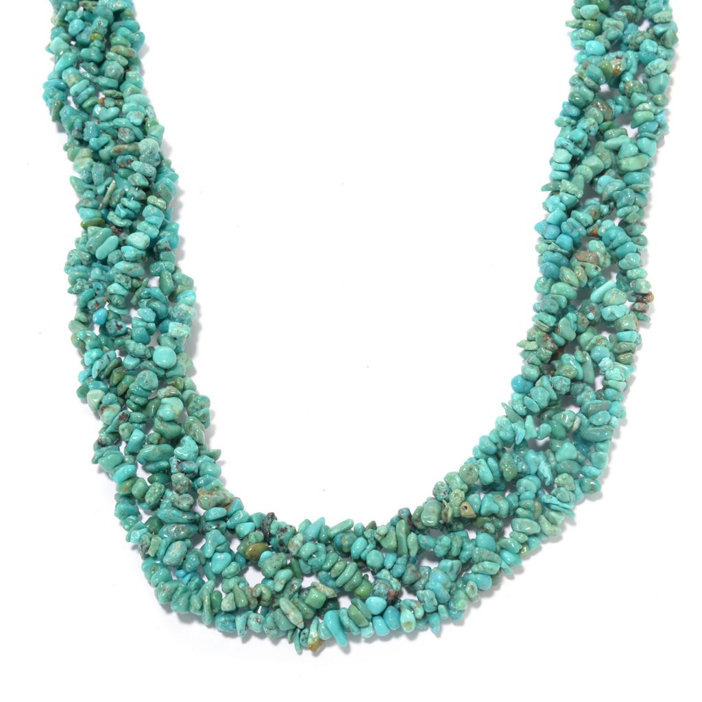 """142-412 - Gem Insider Sterling Silver 24"""" Turquoise Chip Bead Necklace"""
