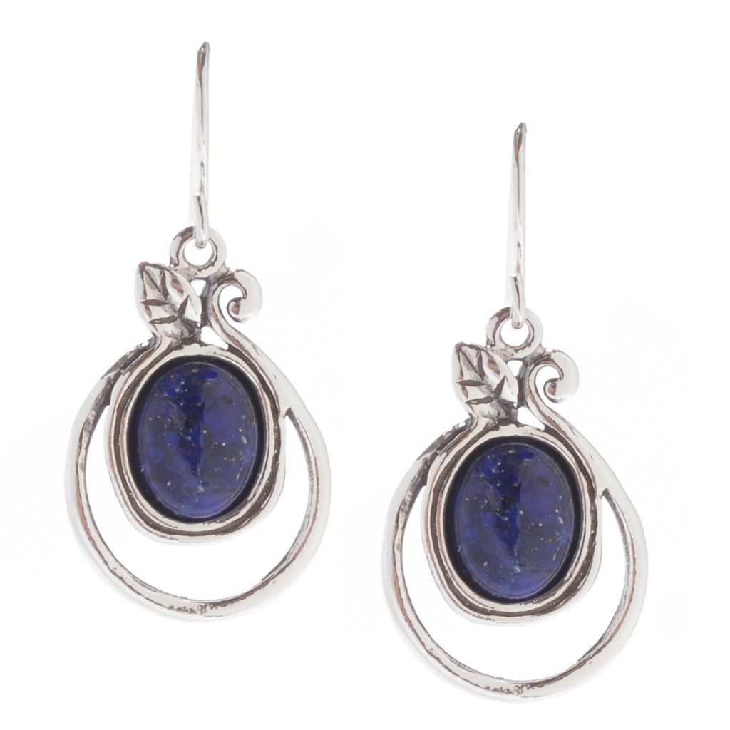 "142-415 - Passage to Israel Sterling Silver 1.25"" 10 x 8mm Oval Gemstone Drop Earrings"