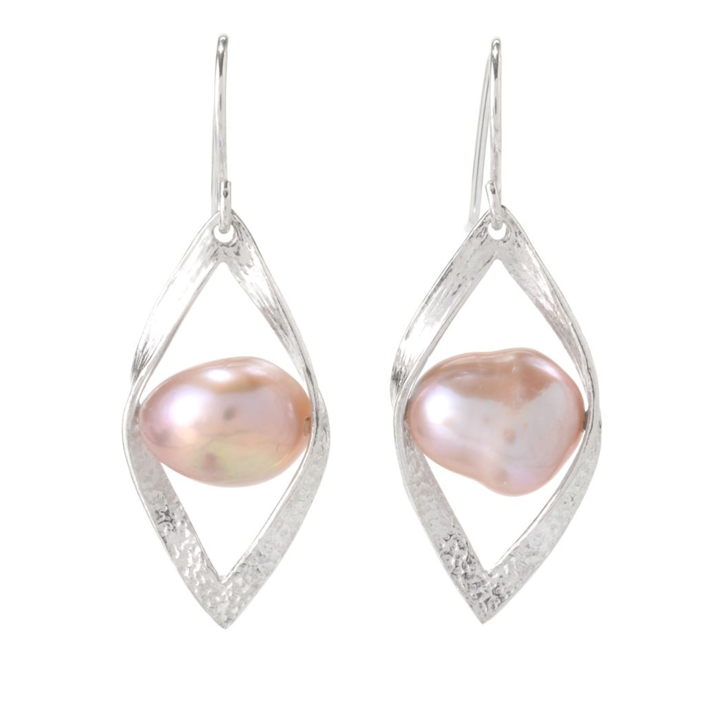 """142-418 - Passage to Israel Sterling Silver 1.5"""" 10-11mm Freshwater Cultured Pearl Earrings"""