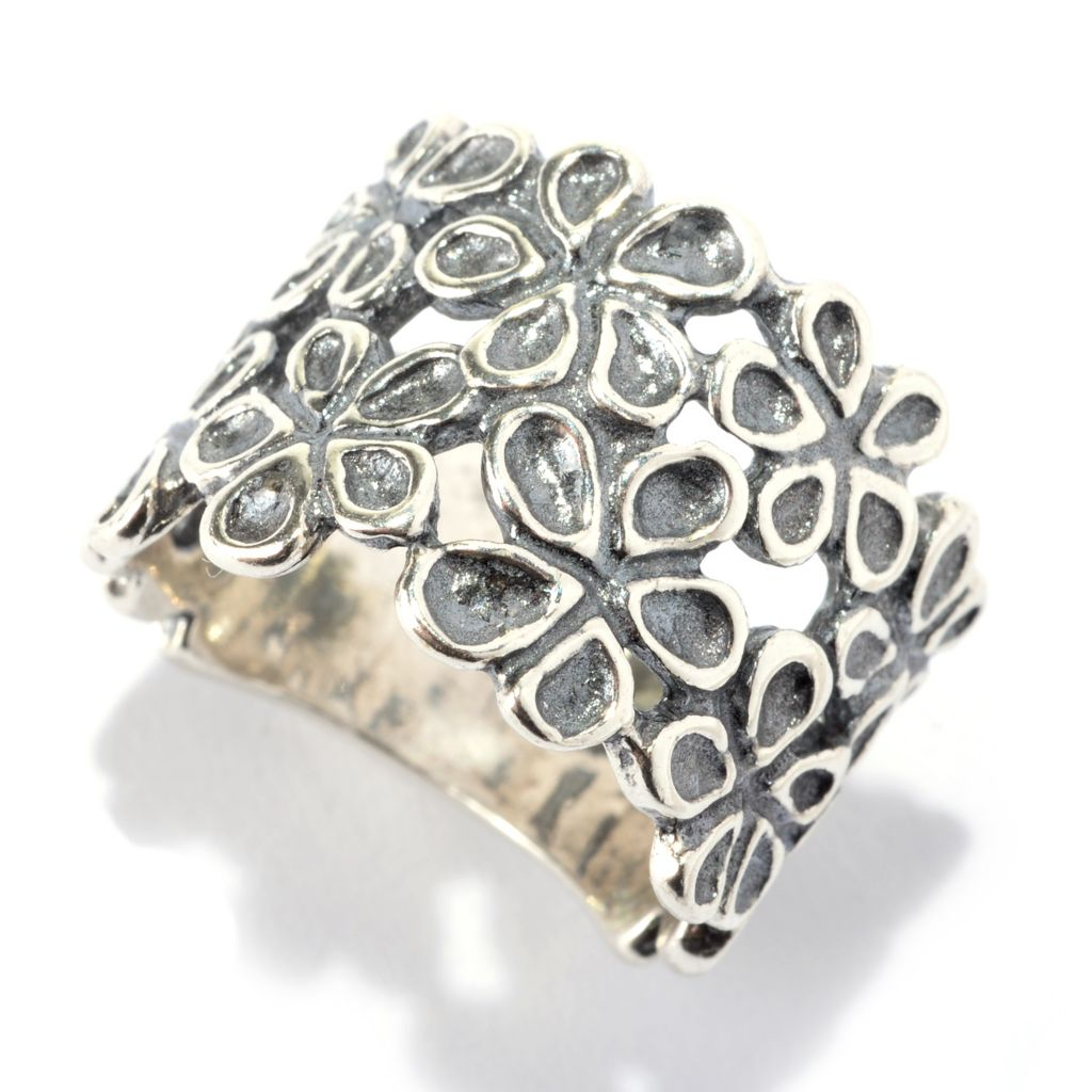 142-420 - Passage to Israel Sterling Silver Oxidized & Hammered Floral Wide Band Ring