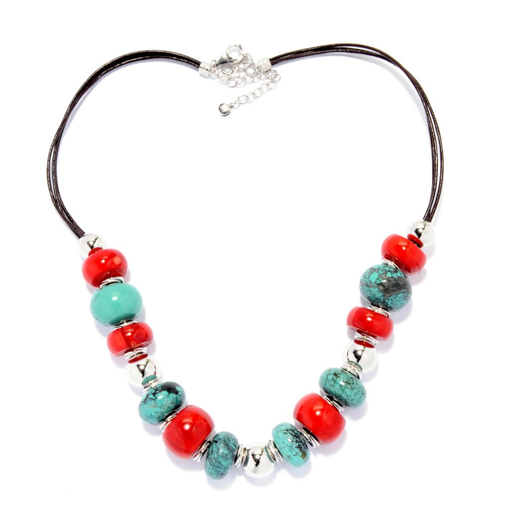 """142-423 - Gem Insider Sterling Silver 18"""" Turquoise & Red Coral Bead Necklace"""
