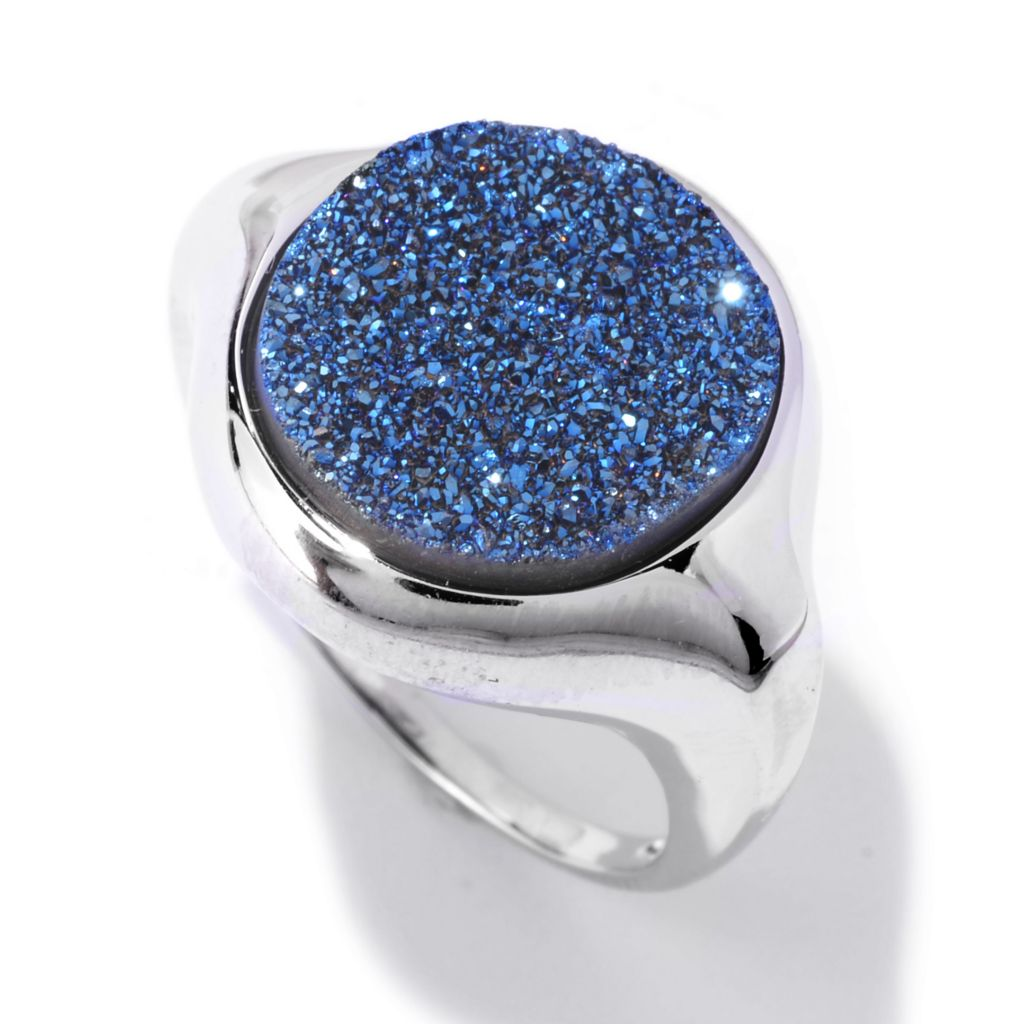142-428 - Gem Insider Sterling Silver 15 x 13mm Oval Blue Drusy Ring