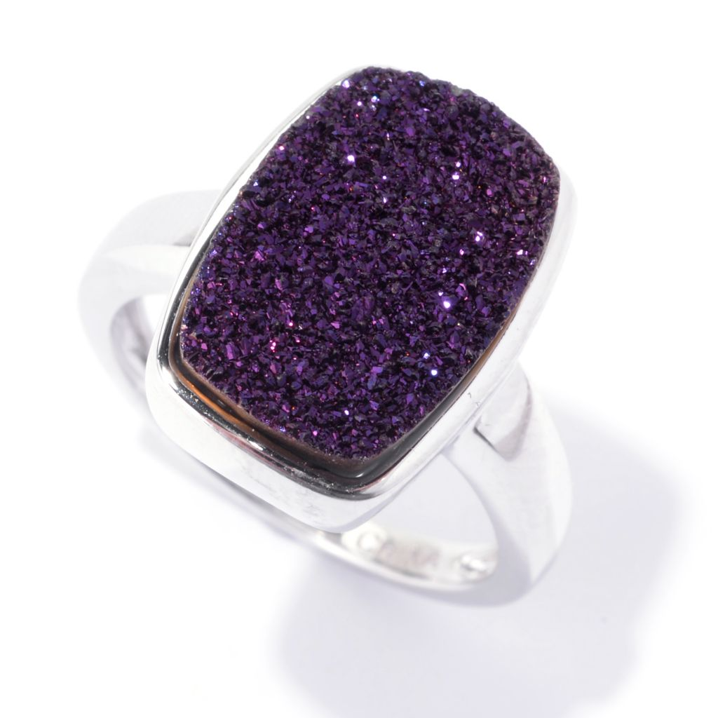 142-433 - Gem Insider Sterling Silver 14 x 9mm Purple Drusy Rectangle Ring