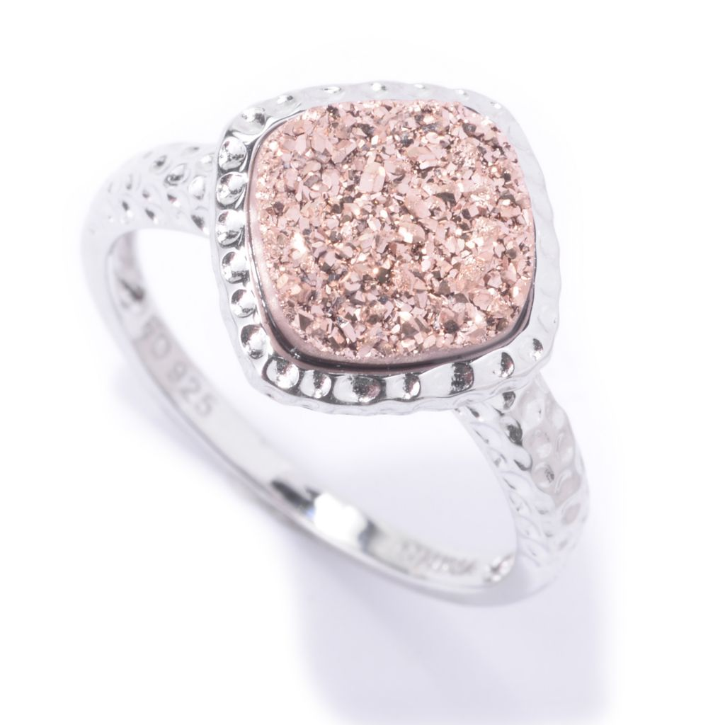 142-435 - Gem Insider Sterling Silver Cushion Shaped Platinum Drusy Hammered Ring