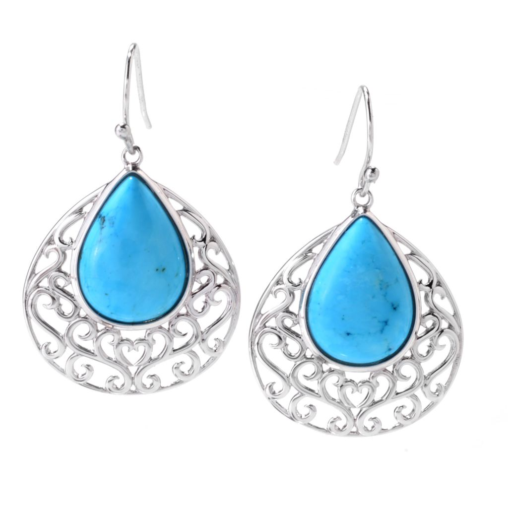 "142-436 - Gem Insider Sterling Silver 1.5"" 18 x 13mm Ma'anshan Turquoise Earrings"