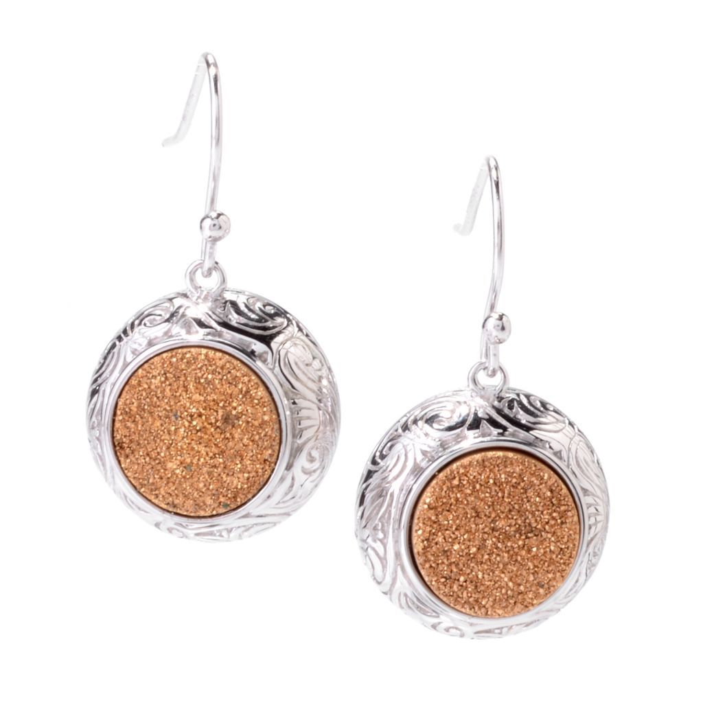 "142-438 - Gem Insider Sterling Silver 1.25"" 11mm Round Gold Drusy Drop Earrings"