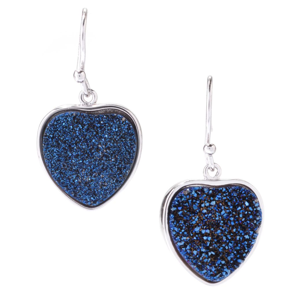 "142-440 - Gem Insider Sterling Silver 1"" 14mm Heart Shaped Blue Drusy Drop Earrings"