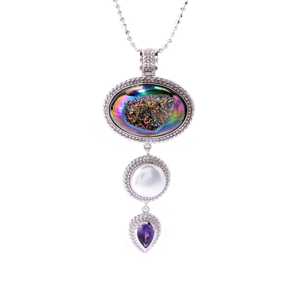 142-443 - Gem Insider Sterling Silver 27 x 18mm Oval Mystic Drusy & Multi Gem Pendant w/ Chain