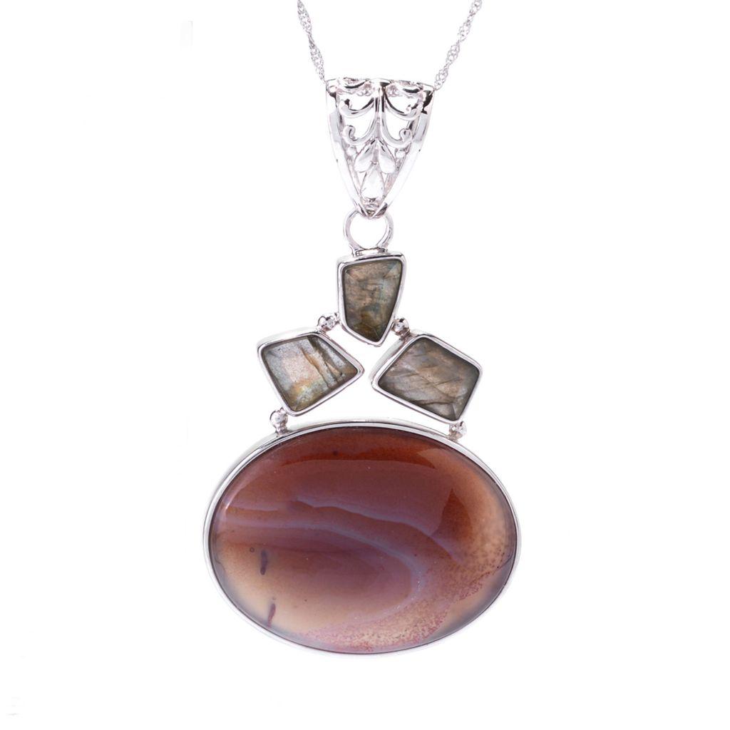 142-445 - Gem Insider Sterling Silver Oval Persian Agate & Labradorite Pendant w/ Chain