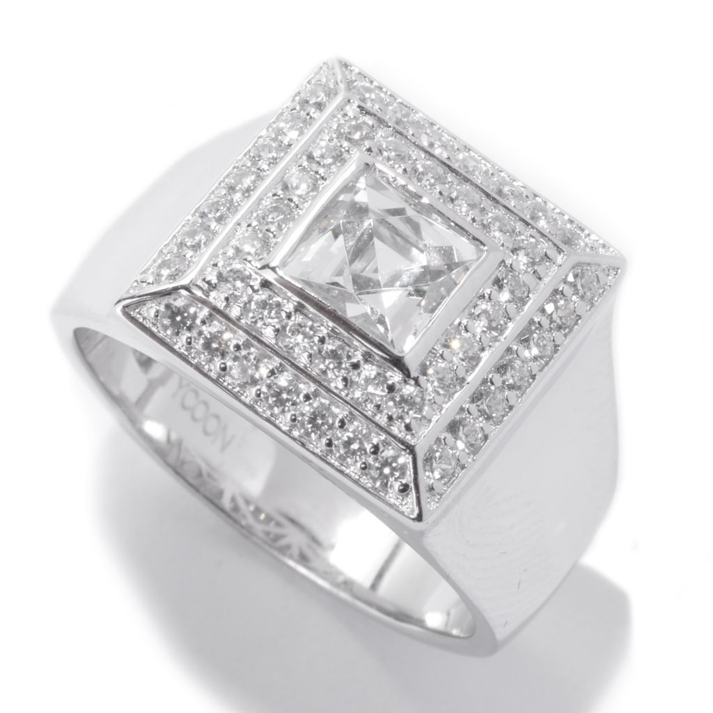 142-462 - TYCOON Men's Platinum Embraced™ 1.98 DEW Simulated Diamond Square Halo Ring