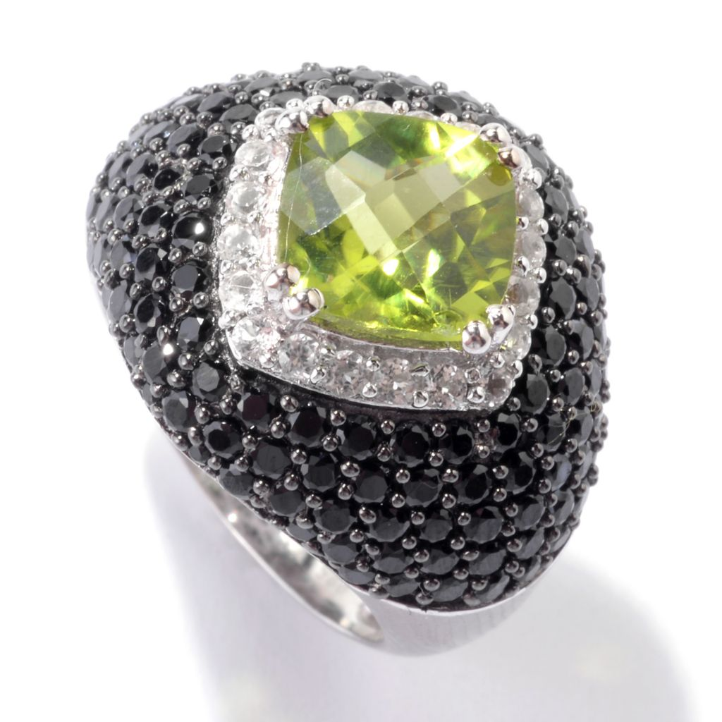 142-464 - Gem Insider Sterling Silver 4.96ctw Peridot, White Topaz & Black Spinel Ring
