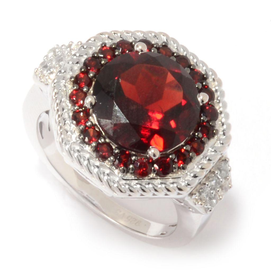 142-465 - Gem Insider Sterling Silver 4.74ctw Garnet & White Zircon Halo Ring