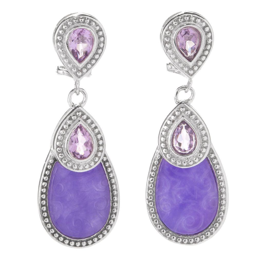 """142-471 - Gem Insider Sterling Silver 1.75"""" 18 x 12mm Purple Jade & Amethyst Earrings"""