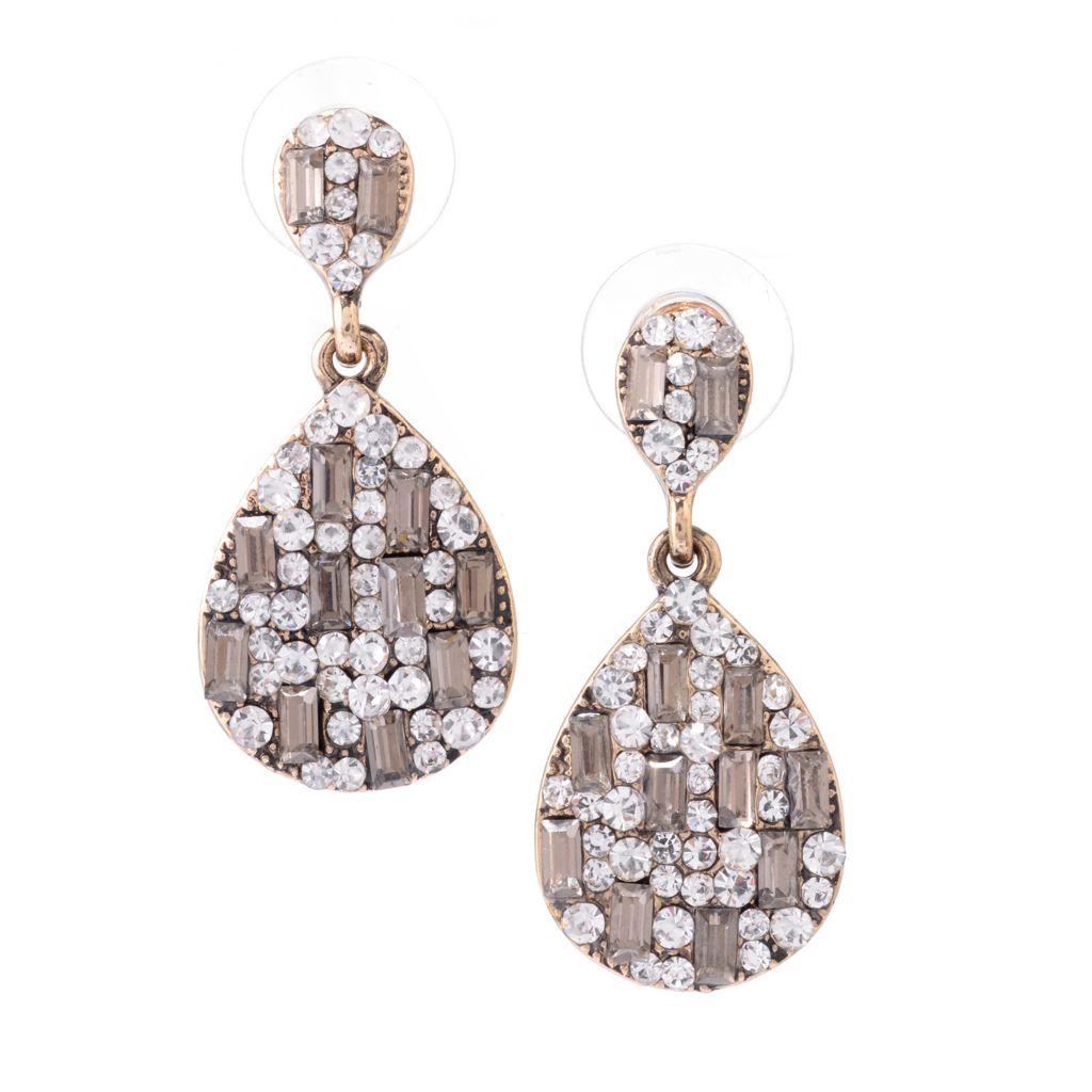 "142-499 - Elume™ 1.25"" Baguette & Round Bead Pear Shaped Drop Earrings"