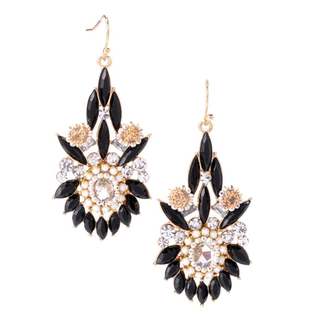 """142-500 - Elume™ 2.25"""" Beaded Floral Design Elongated Drop Earrings"""