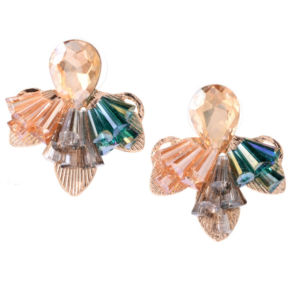 "142-501 - Elume™ 1.25"" Pear Shaped Rhinestone & Elongated Bead Cluster Earrings"