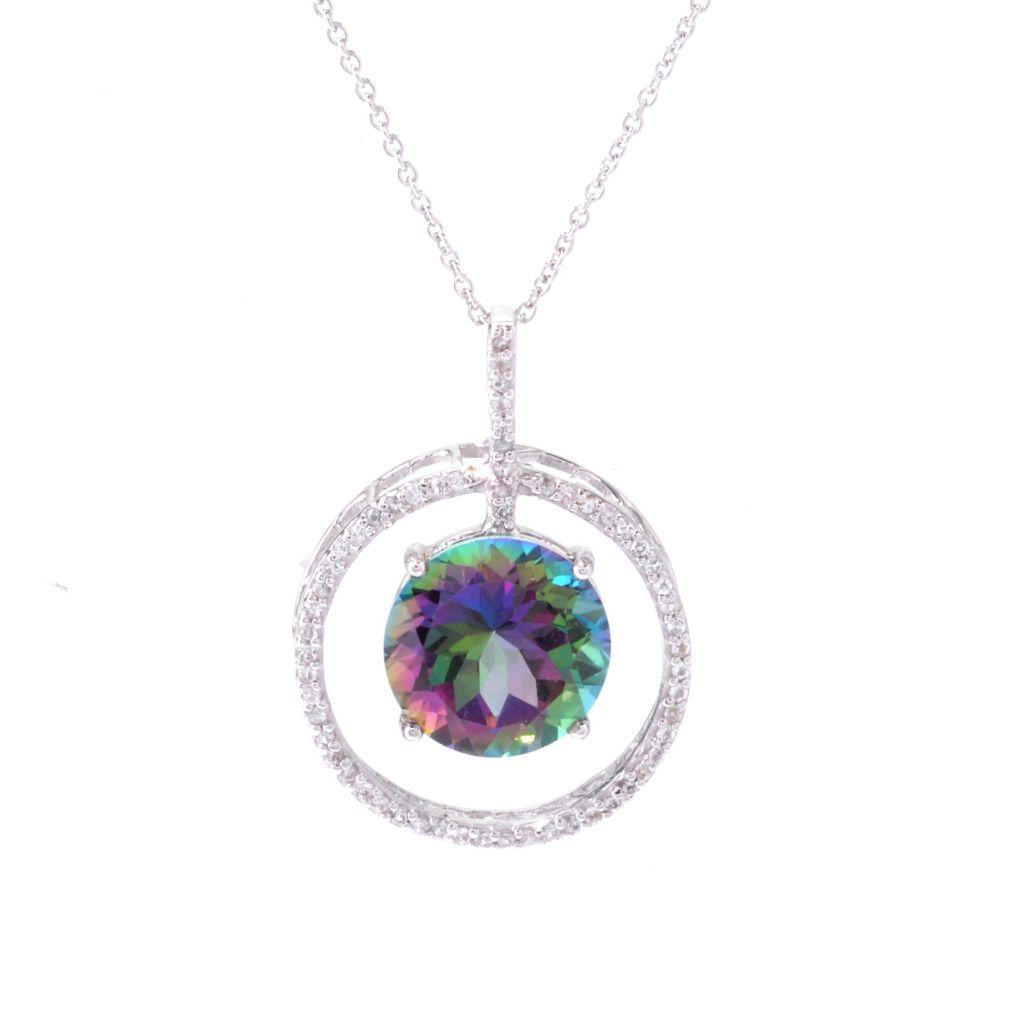 142-515 - Gem Treasures Sterling Silver 6.67ctw Round Multi Color Topaz Pendant w/ Chain