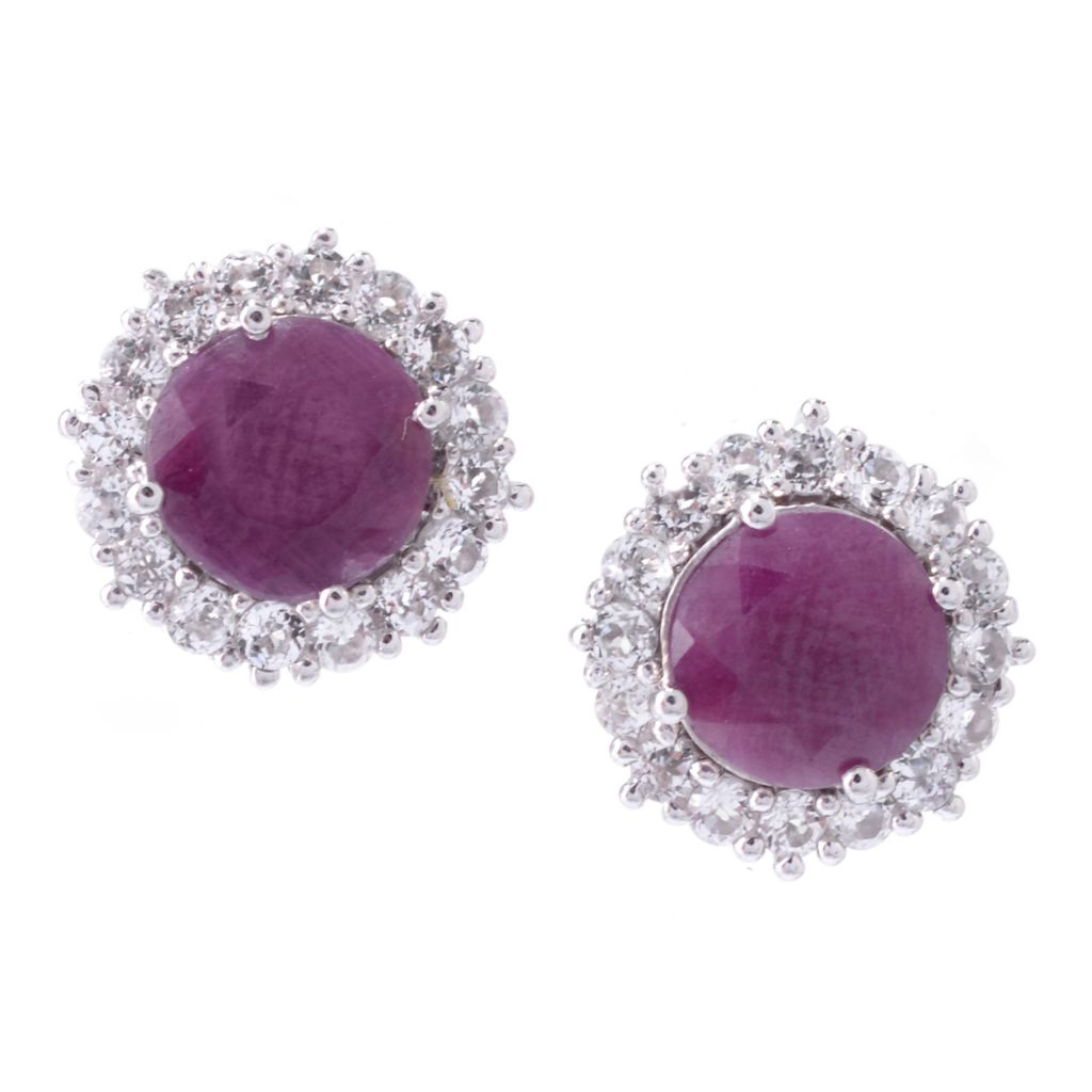 142-517 - Gem Treasures Sterling Silver White Topaz Earring Jackets & Gem Stud Earrings