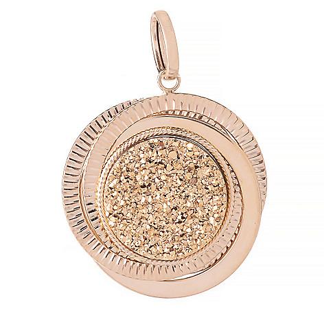 142-518 - 14K Gold 20mm Labradorite & Drusy Textured Reversible Circle Pendant