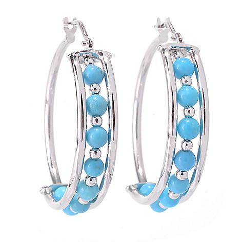 142-519 - 14K White Gold 1'' Round Turquoise Beaded Hoop Earrings