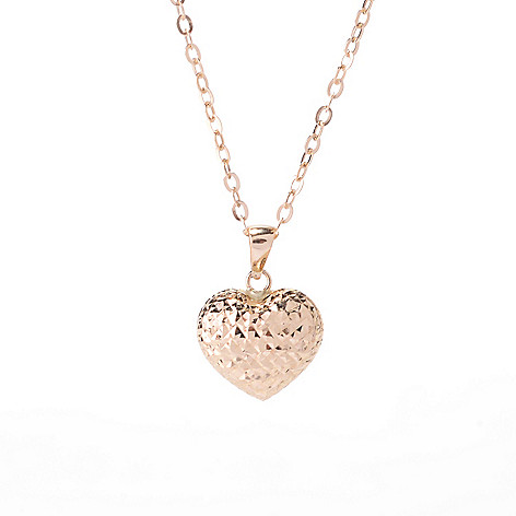 142-521 - 14K Gold Polished & Textured Heart Pendant w/ 18'' Chain