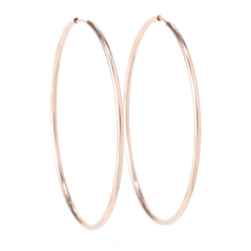 """142-524 - 14K Gold 1.25"""" Polished Endless Hoop Earrings"""