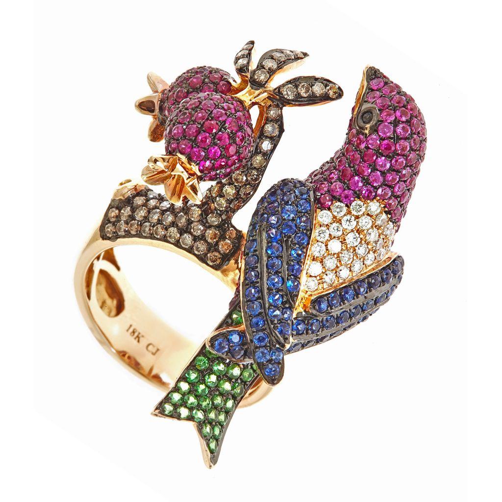 142-525 - Fierra™ 18K Rose Gold 4.37ctw Ruby, Tsavorite, Sapphire & Diamond Bird Ring - Size 7