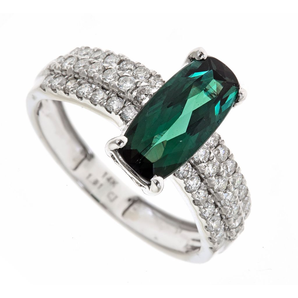 142-526 - Fierra™ 14K White Gold 2.49ctw Indicolite Tourmaline & Diamond Ring - Size 7