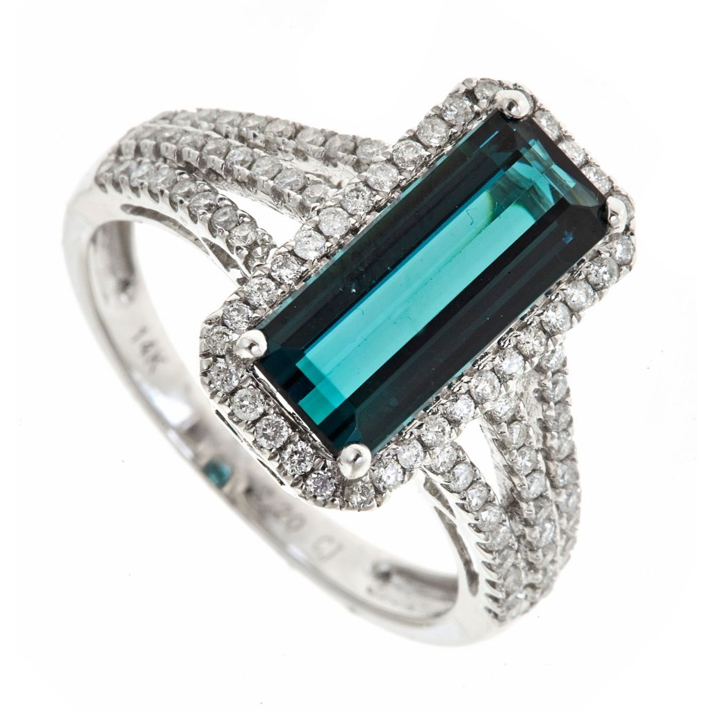 142-527 - Fierra™ 14K White Gold 2.73ctw Indicolite Tourmaline & Diamond Split Shank Ring - Size 7