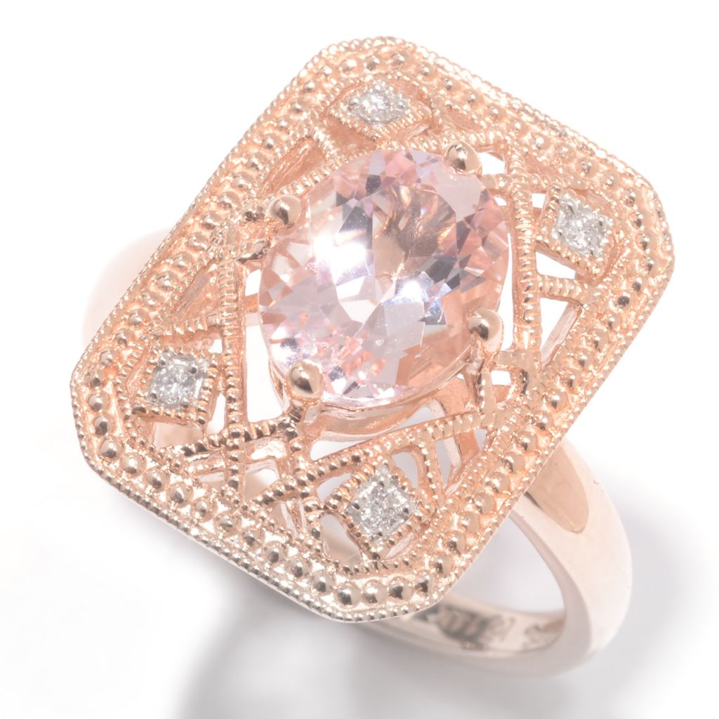 142-528 - Gem Treasures 14K Rose Gold 1.34ctw Morganite & Diamond Rectangle Ring